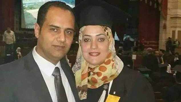 The loss is particularly poignant as Mrs Mosad (right), 27, was returning to Cairo from a month-long stay in Paris where she successfully beat cancer after her husband (left) used all of his savings to pay for the high-quality treatment