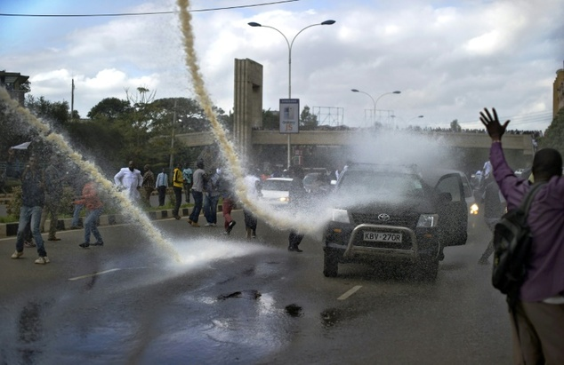 Police use water cannon against protesters in Nairobi on May 23, 2016