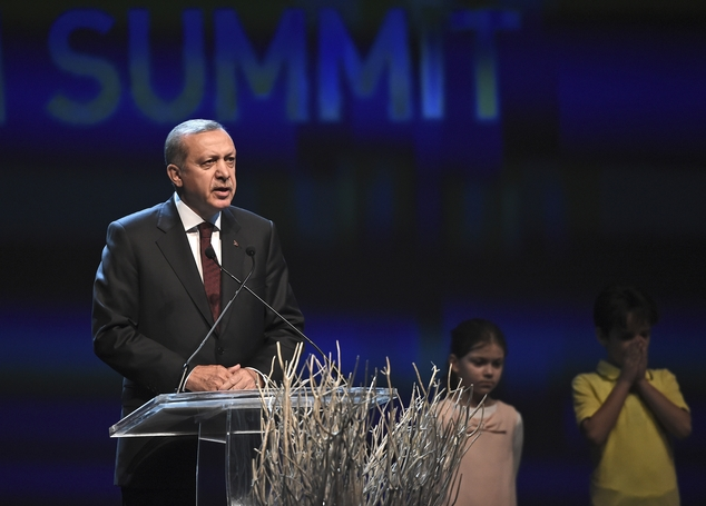 Turkey's President Recep Tayyip Erdogan, delivers a speech at the opening ceremony of the World Humanitarian Summit, in Istanbul, Monday, May 23, 2016. World...