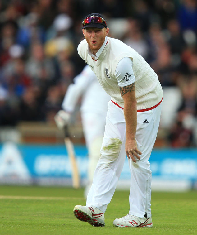 England's Ben Stokes holds his knee before going off injured during day two of the first cricket Test at Headingley, Leeds, England Friday May 20, 2016. Engl...