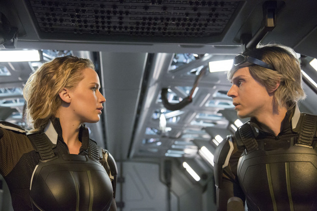 "In this image released by Twentieth Century Fox, Jennifer Lawrence, left, and Evan Peters appear in a scene from, ""X-Men: Apocalypse."" (Alan Markfield/Twenti..."