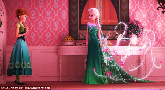 Devoted sisters: Kristen Bell, who voices Princess Anna (left), revealed in March that Disney was finishing off the script for Frozen 2, so a tweak to any love story might be possible