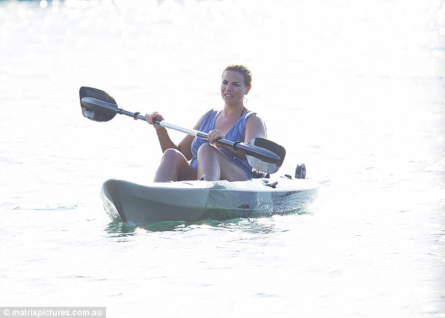 Paddling around: Fiona - who teamed her grey T-shirt with a white skirt on the day - could be seen having a go on the kayak