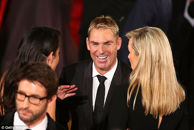 Charmer: Notoriously single since his breakup with model Liz Hurley in 2013, the King of Spin may be trying to impress the ladies with his pearly whites. Pictured at the Logies in May