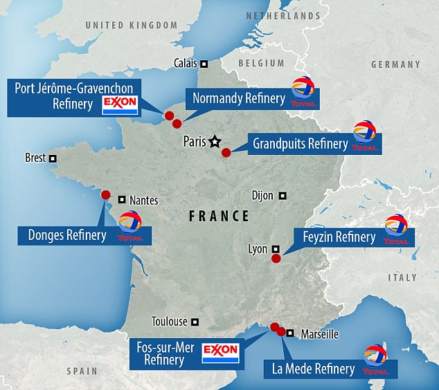 This map shows the eight oil refinery plants in France that have experienced blockades