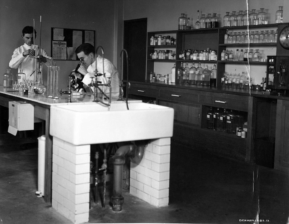 Made for a legend: The laboratory and head office was built in 1936 and designed by Walter Gropius for British film director and producer Alexander Korda. Pictured, two engineers inspect film during Denham's hey-day