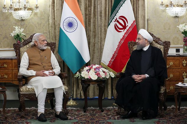 Indian Prime Minister Narendra Modi, left, meets with Iranian President Hassan Rouhani at the Saadabad Palace in Tehran, Iran, Monday, May 23, 2016. (Iranian...