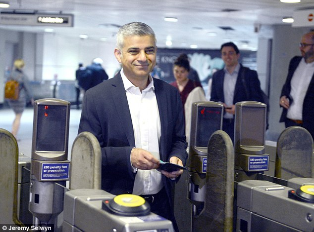 Mr Khan, pictured at the London Bridge Tube station on his first day as Mayor, today blamed Boris Johnson for delaying the Night Tube through his tactics for dealing with the unions