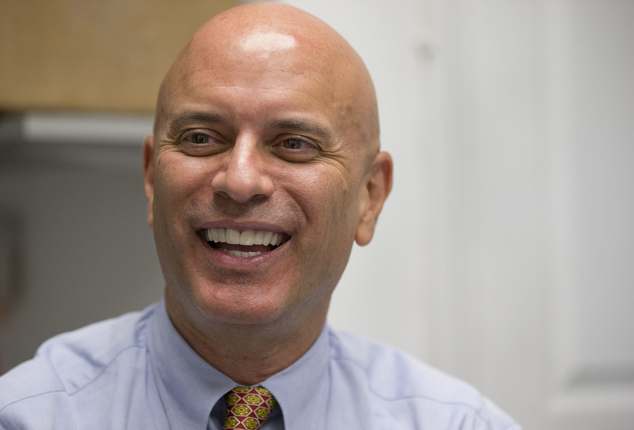 FILE - In this April 6, 2016 file photo, Tim Canova smiles as he speaks during an interview at his campaign headquarters in Hollywood, Fla. Canova, a univers...