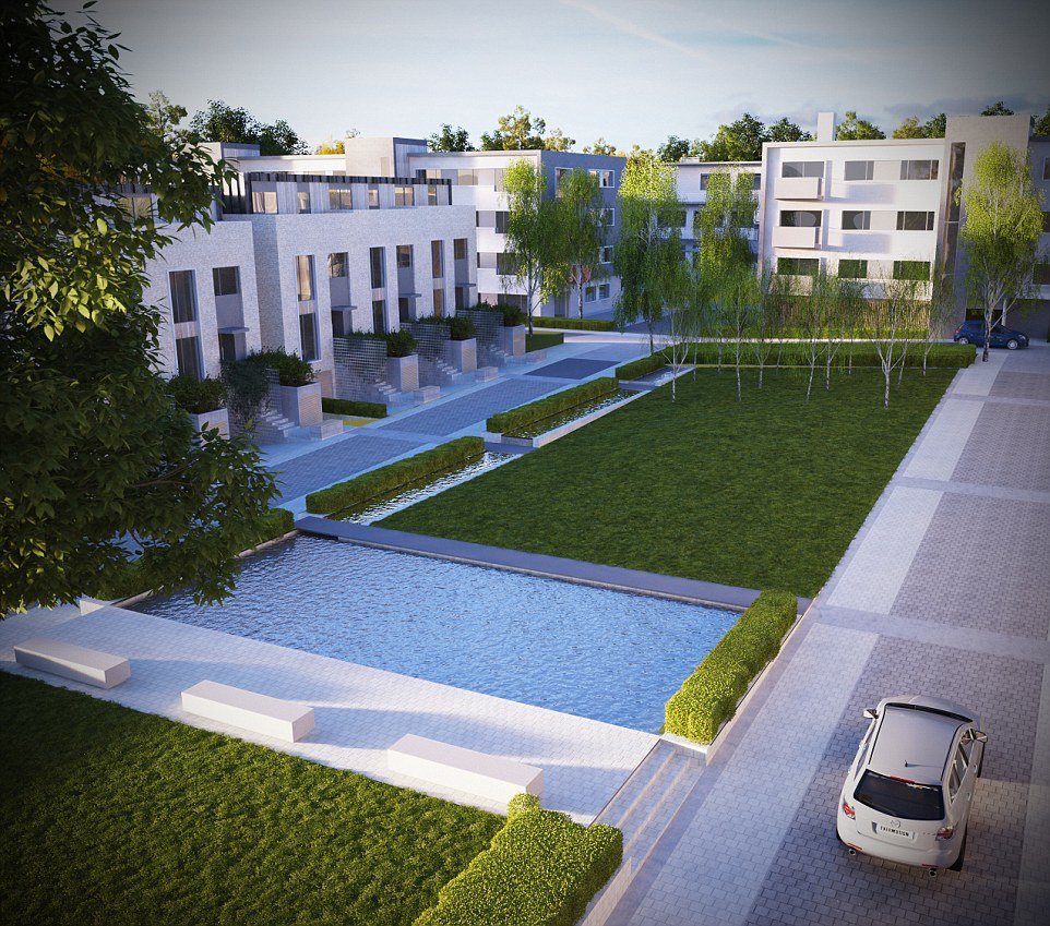 Green:The new properties are designed around garden squares, landscaped grounds, rill waterfeatures, private gardens and protected woodland