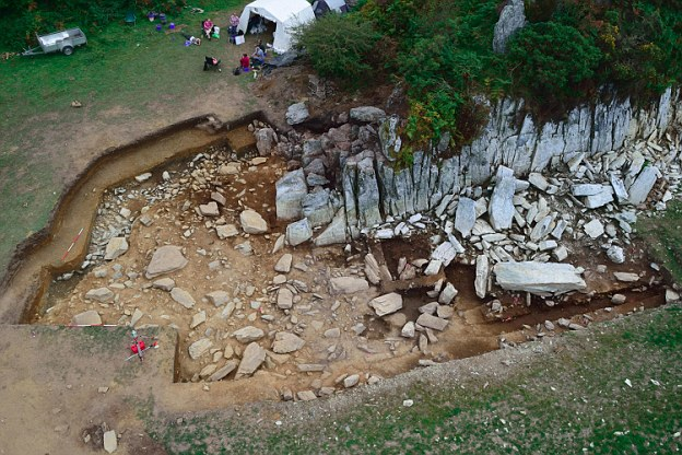 One of the quarry's excavators compared it to a 'Neolithic Ikea' because of the way the raw materials were used elsewhere. An aerial view of the site is shown