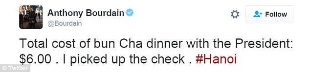 The CNN host said he picked up the president's tab, which only cost him $6. The episode was filmed for the shows eighth season