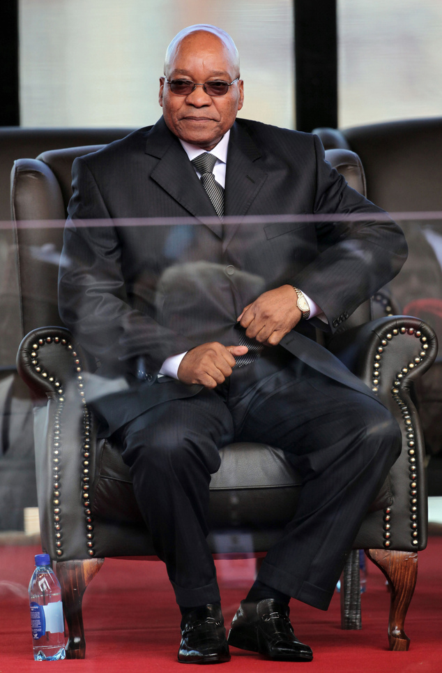 FILE - In this Saturday May 9, 2009 file photo South Africa's president Jacob Zuma at his inauguration in Pretoria, South Africa, for a first term. On Monday...