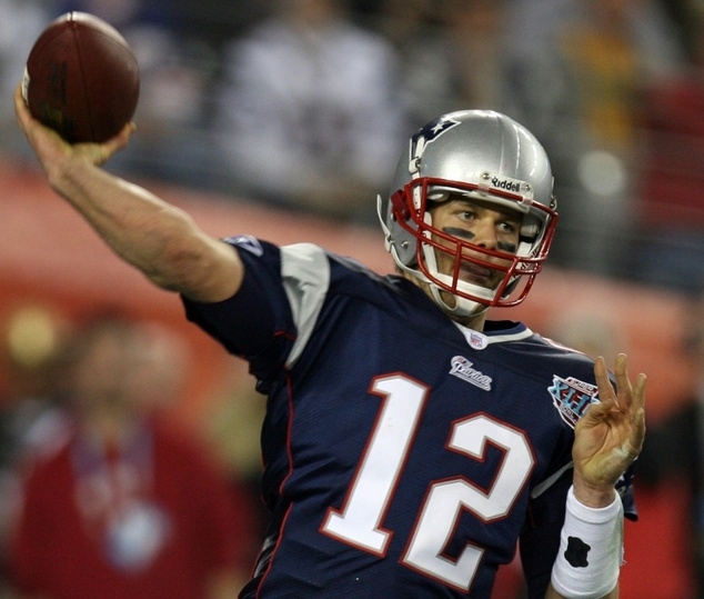 New England Patriots quarterback Tom Brady passes the ball during Super Bowl XLII against the New York Giants in Glendale, Arizona on February 3, 2008