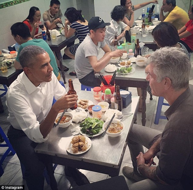 The pair met for the first time on Monday night over Bun Cha dinner for the first part of the 'Parts Unknown' interview