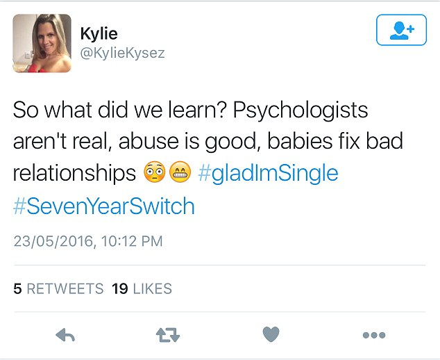 Twitter rants: One social media user wrote: 'So what did we learn? Psychologists aren't real, abuse is good, babies fix bad relationships'