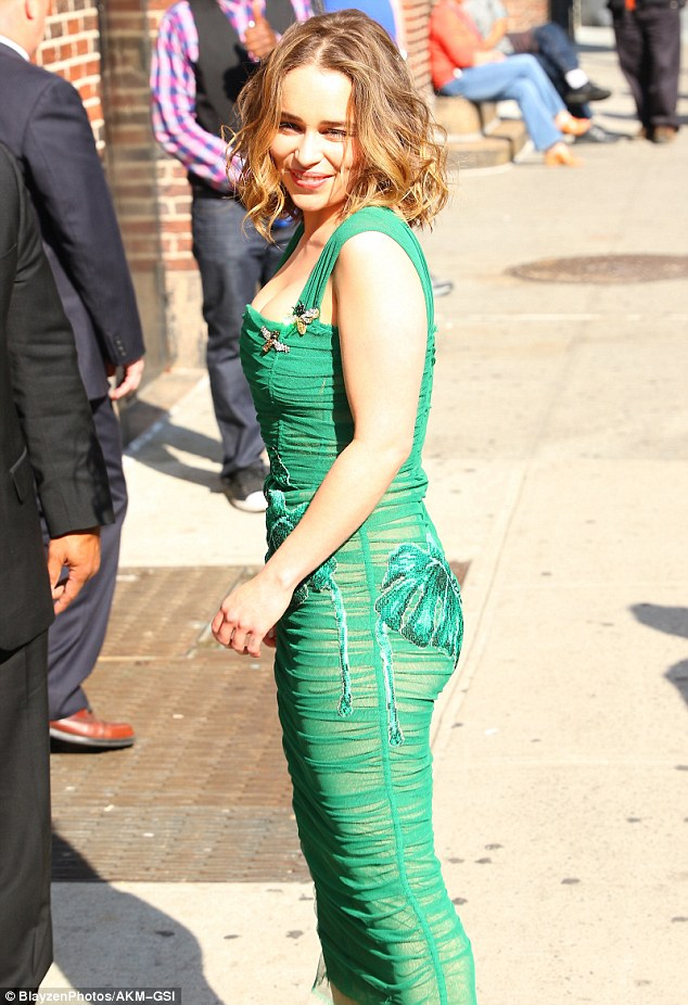 Floral details: The actress wore a sheer green dress with floral embellishments