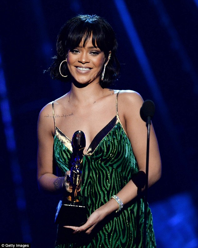 Big night: Rihanna, 28, was presented with the fan-voted Billboard Chart Achievement Award