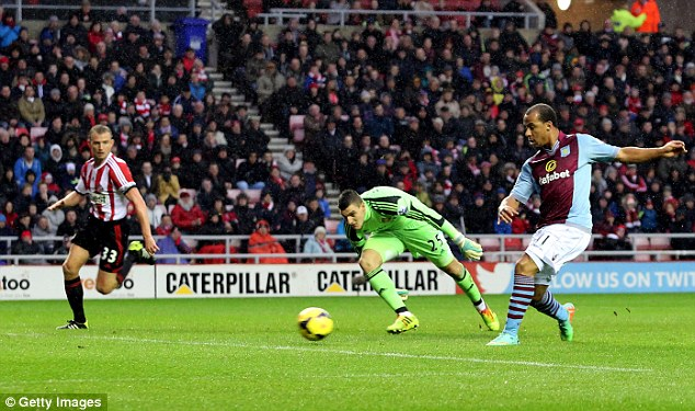 Gift of the Gab: Gabby Agbonlahor gives Aston Villa a first-half lead at Sunderland