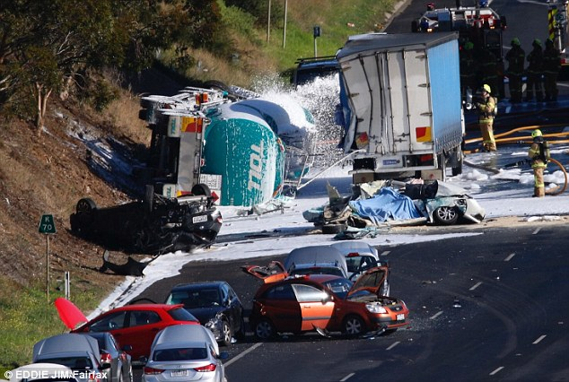 A petrol tanker has collided with six cars in Melbourne's north-west, leaving one person dead and up to eight people injured during peak-hour traffic
