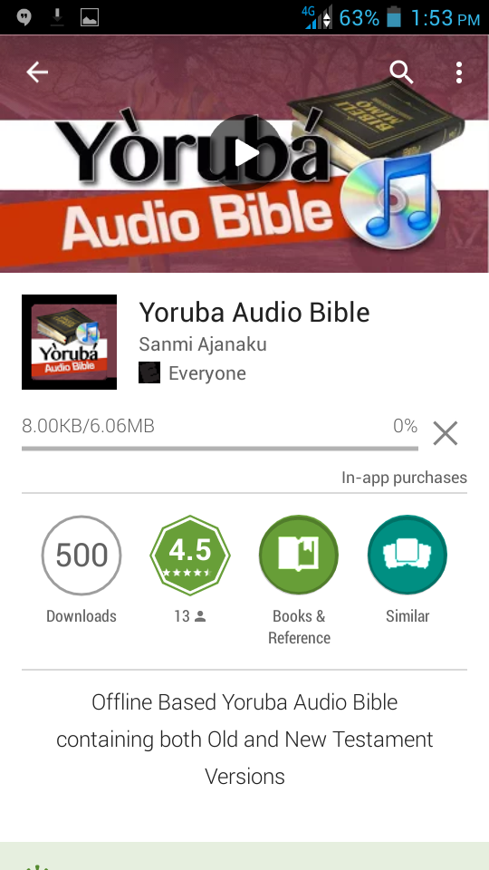 Right Now, Yoruba Audio Bible is about to start downloading to your phone