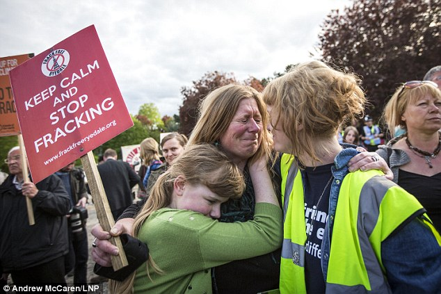 The landmark ruling could pave the way for drilling across rural England, despite protests, pictured