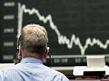 DAX...A stock trader watches the board at the stock market in Frankfurt, Germany, Tuesday, July 16, 2002. The German Dax stock index dropped under the mark of 4,000 points the day before and started weak on Tuesday. (AP Photo/Michael Probst)...I F...FRANKFURT...DEU
