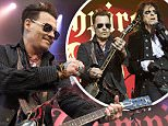 "Johnny Depp, left, performs with his band ""Hollywood Vampires"", Wednesday, June 1, 2016 at the music venue in the former Horsens State Prison, in Horsens, Jutland, Denmark. (Claus Bonnerup/Polfoto via AP) DENMARK OUT"
