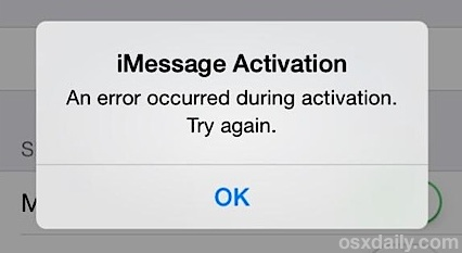iMessage Activation error after restoring iPhone Backup - An Error occurred during activation. Try Again.