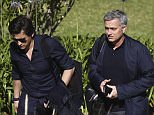 epa05338257 Manchester United head coach Jose Mourinho (R) and his long-time assistant coach Rui Faria arriving to the Faculty of Human Kinetics of Lisbon University to give a lecture to a post-graduation class on 'High Performance Football Coaching', in Lisbon, Portugal, 31 May 2016.  EPA/PEDRO NUNES
