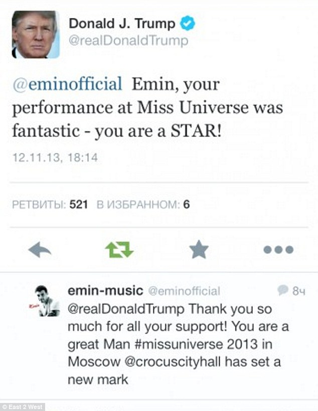 Praise: Trump used his Twitter account to thank both the Argolov family and Emin Argolov