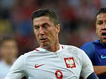 Poland's Robert Lewandowski (L) vies for the ball with Jeffrey Bruma of the Netherlands during during the international friendly football match of Poland vs the Netherlands on June 1, 2016 in Gdansk, Poland, ahead of the Euro 2016 European football championship. / AFP PHOTO / JANEK SKARZYNSKIJANEK SKARZYNSKI/AFP/Getty Images