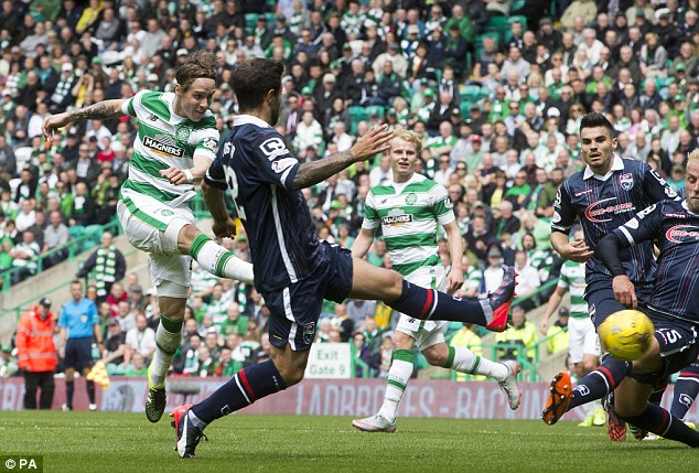 Johansen, pictured scoring in August 2015, enjoyed a fine first season and was Celtic's Payer of the Year