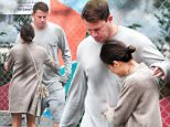 ***MAIL ONLINE USE ONLY***\nEXCLUSIVE TO INF.\nMay 31, 2016: Jenna Dewan Tatum is seen playfully pinching husband Channing Tatum's belly fat while out in Los Angeles, California.\nMandatory Credit: INFphoto.com Ref.: infusla-300