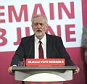 epa05341613 Bratain's Labour party leader Jeremy Corbyn (C) delivers a speech on the United Kingdom's membership of the European Union (EU) in Central London, Britain, 02 June 2016. Britons will vote on whether to remain in or leave the EU in a referendum on 23 June 2016.  EPA/WILL OLIVER