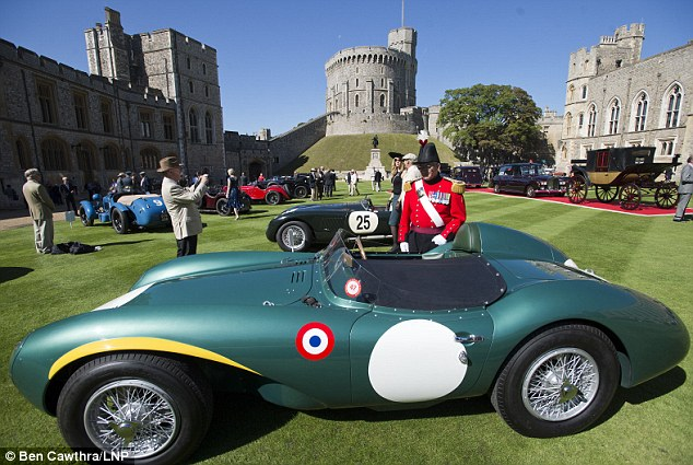 Nice: A 1956 Aston Martin DB3s/9 being admired by Colonel David Steel at Windsor Castle