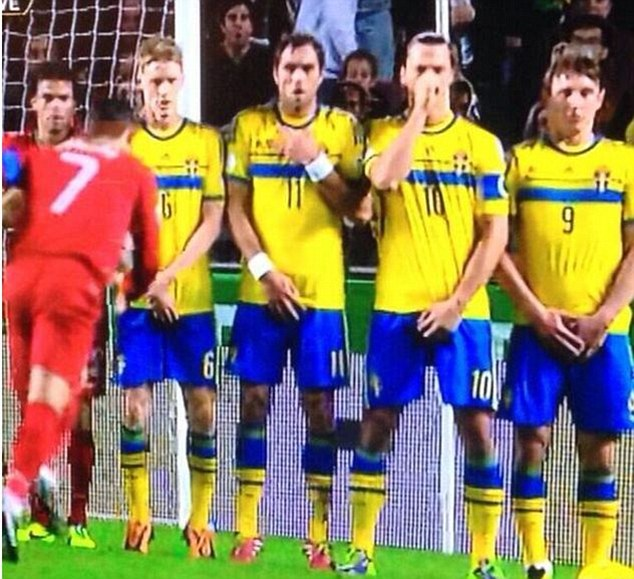 Not the nose! Zlatan Ibrahimovic appears to be protecting his nose as Cristiano Ronaldo lined up a free-kick