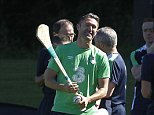 Republic of Ireland's Robbie Keane plays hurling during a training camp at Fota Island Resort, Cork. PRESS ASSOCIATION Photo. Picture date: Thursday June 2, 2016. See PA story SOCCER Republic. Photo credit should read: Brian Lawless/PA Wire. RESTRICTIONS: Editorial use only, No commercial use without prior permission, please contact PA Images for further information: Tel: +44 (0) 115 8447447.