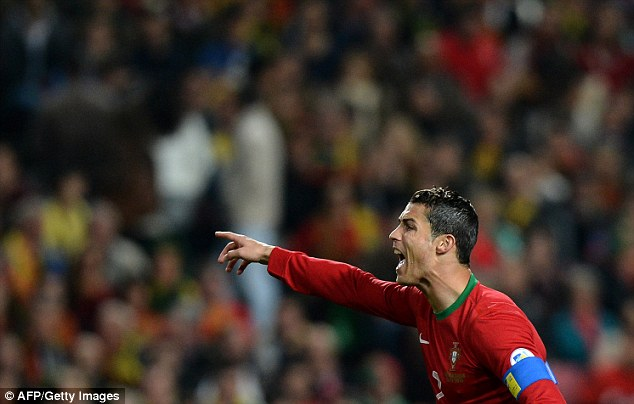 Anger: Portugal forward Cristiano Ronaldo made no secret of his desire to win on an important night