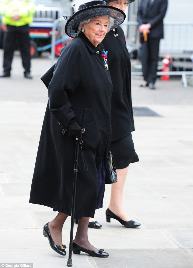 Baroness Betty Boothroyd, pictured at Margaret Thatcher's funeral last year, worked with Flowers in the 70s and 80s, when he worked as a secretary for the Labour Party in her constituency of West Bromwich