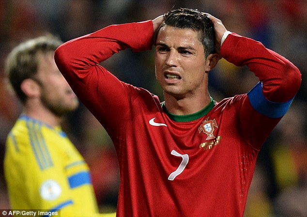 Frustration: Cristiano Ronaldo was booked on a night in which he needed to inspire his team