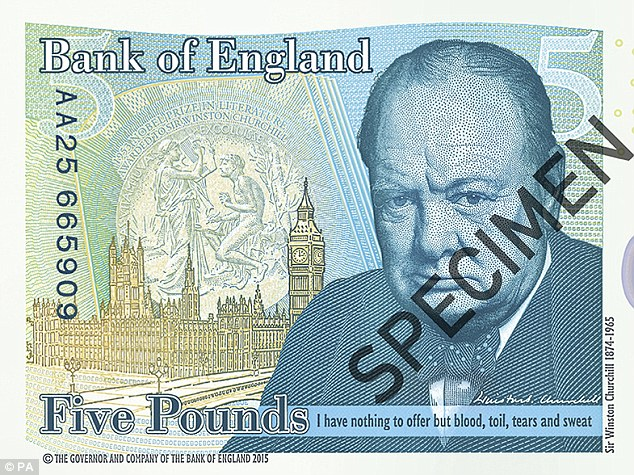 Old school: The new fiver features Winston Churchill and was unveiled atBlenheim Palace this afternoon