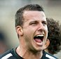 Newcastle's Steven Taylor (R)celebrates the win against Liverpool. Football: Premier League: Newcastle 1 Liverpool 0. . REXMAILPIX.