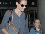 Los Angeles, CA - Jennifer Garner touches down in Los Angeles on a flight from London at LAX with daughter Seraphina. The mother daughter duo walked hand-in-hand with smiles as they were led to their car curbside. AKM-GSI   June  2, 2016 To License These Photos, Please Contact : Maria Buda (917) 242-1505 mbuda@akmgsi.com sales@akmgsi.com or  Mark Satter (317) 691-9592 msatter@akmgsi.com sales@akmgsi.com