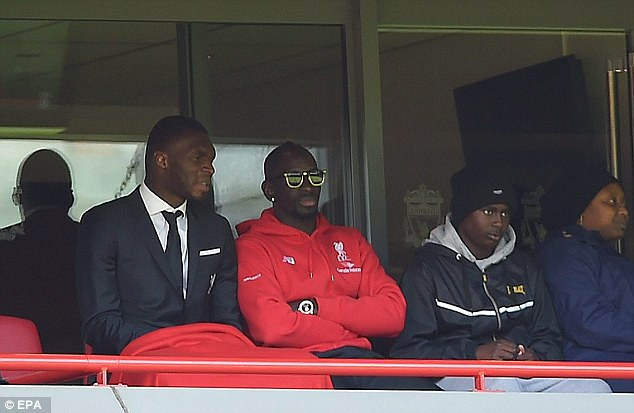 Liverpool defender Mamadou Sakho (centre) is awaiting a date for his UEFA disciplinary hearing