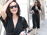 Picture Shows: Andie MacDowell  June 01, 2016\n \n Actress Andie MacDowell was spotted shopping with her dog on Rodeo Drive in Beverly Hills, California. \n \n She was looking casually cool wearing a flowy black shirt with matching flowy pants. \n \n Exclusive - All Round\n UK RIGHTS ONLY\n \n Pictures by : FameFlynet UK © 2016\n Tel : +44 (0)20 3551 5049\n Email : info@fameflynet.uk.com