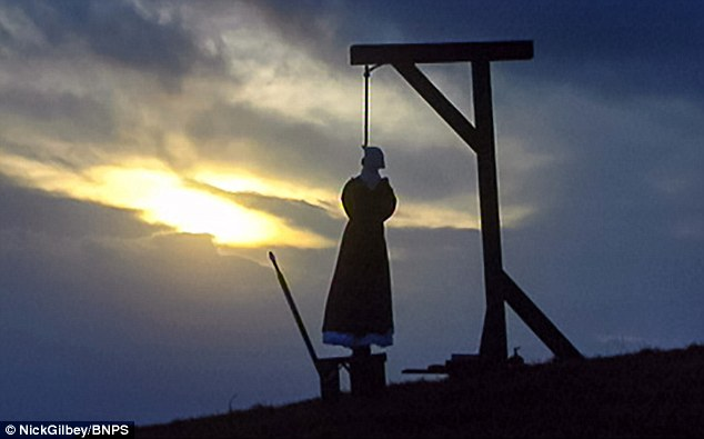 The remains of Martha Brown, pictured being hanged in a reconstruction from a documentary, are to be excavated from a burial site at the former Dorchester Prison