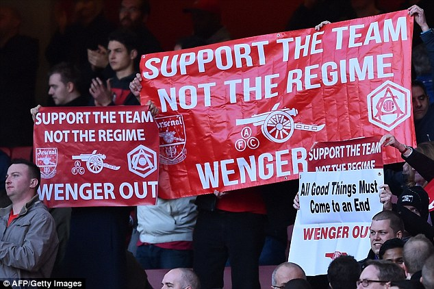 A section of Arsenal supporters have called for Wenger to leave after 20 years in charge of the Gunners