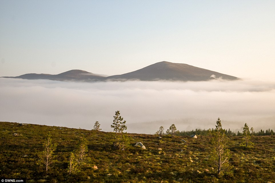 The Cairngorm mountains pictured today: Britain's warmest day of the year so far was May 8 when temperatures hit 27.1C in London