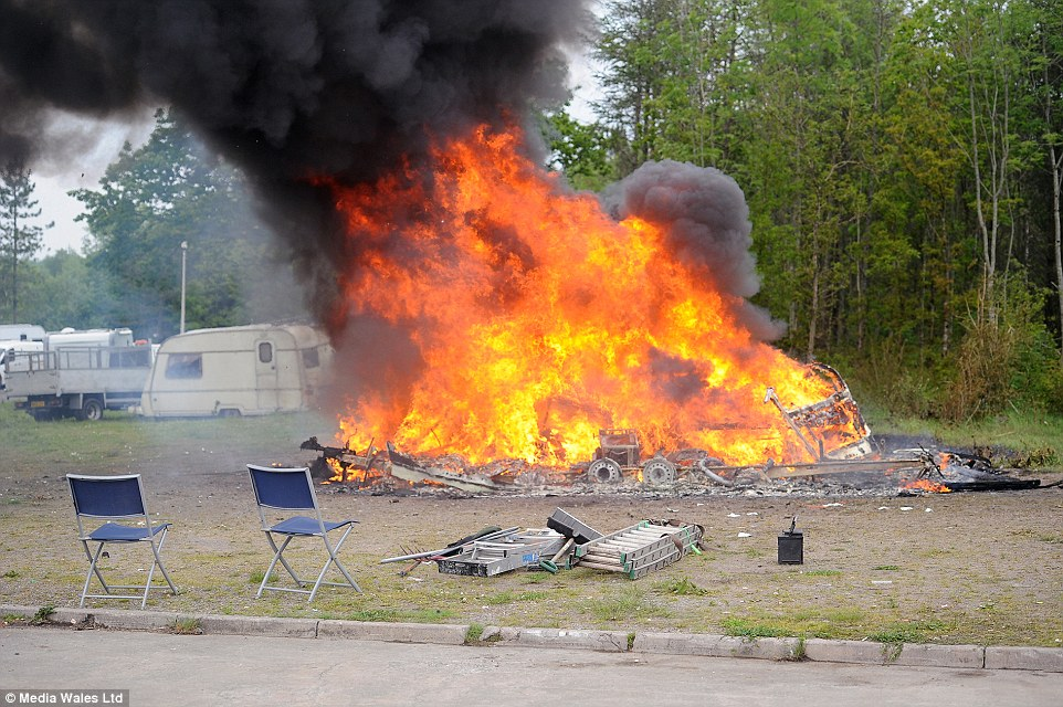 Burning caravans and possessions is an ancient traveller ritual as traditionally no one is allowed to live in a deceased traveller's caravan